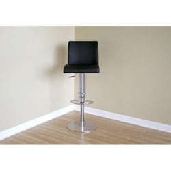 Glascow Black Leather Adjustable Barstool - Thumbnail 1