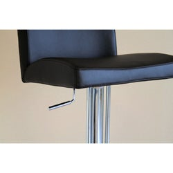 Glascow Black Leather Adjustable Barstool - Thumbnail 2