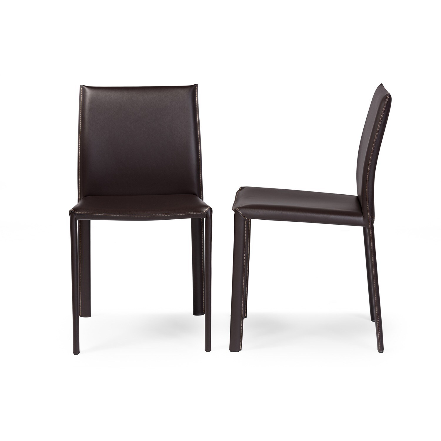 Modern Brown Faux Leather Dining Chair 2 Piece Set By Baxton Studio