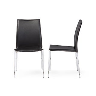 Broadway Black Leather Dining Chairs (Set of 2)