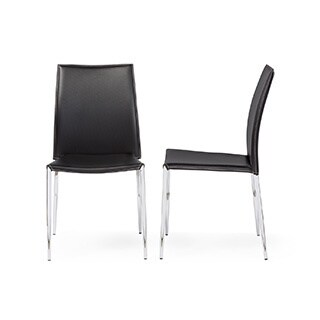 Modern Black Faux Leather Dining Chair 2-Piece Set by Baxton Studio