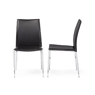 Modern Black Faux Leather Dining Chair 2 Piece Set By Baxton Studio