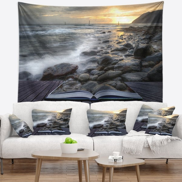 Designart 'Open Book to the Evening Sea' Contemporary Wall Tapestry
