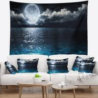 Designart 'Romantic Full Moon Over Sea' Seascape Wall Tapestry
