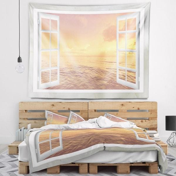 Designart 'Open Window to Brown Seashore' Seashore Wall Tapestry