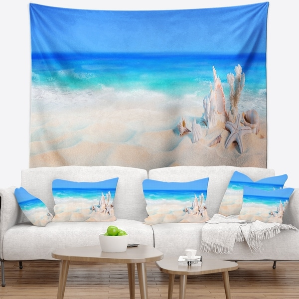 Designart 'Seashells on Seashore' Beach Photography Wall Tapestry
