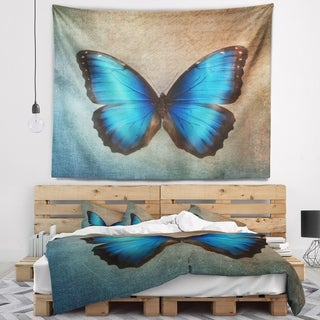 Designart 'Blue Vintage Butterfly' Floral Wall Tapestry