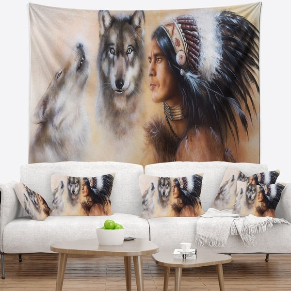 Designart 'Indian Warrior with Two Wolves' Animal Wall Tapestry