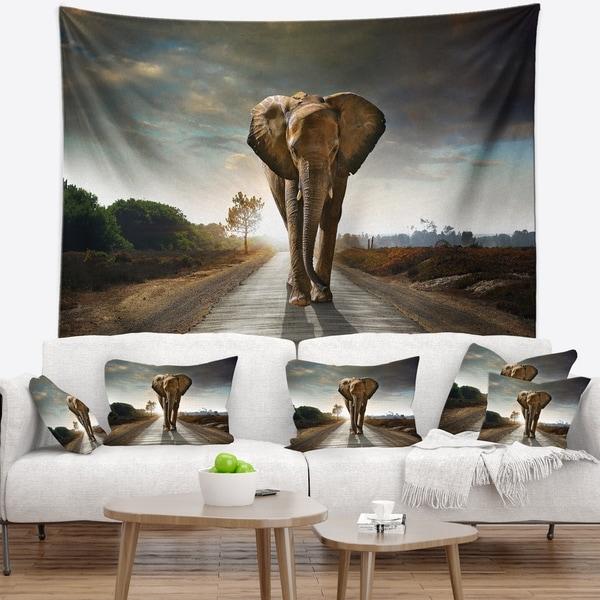 Designart 'Single Walking Elephant' Photography Wall Tapestry