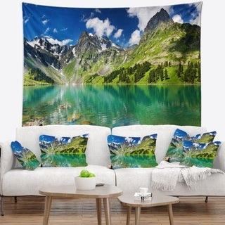 Designart 'Bright Day Mountain Lake' Photography Wall Tapestry (4 options available)