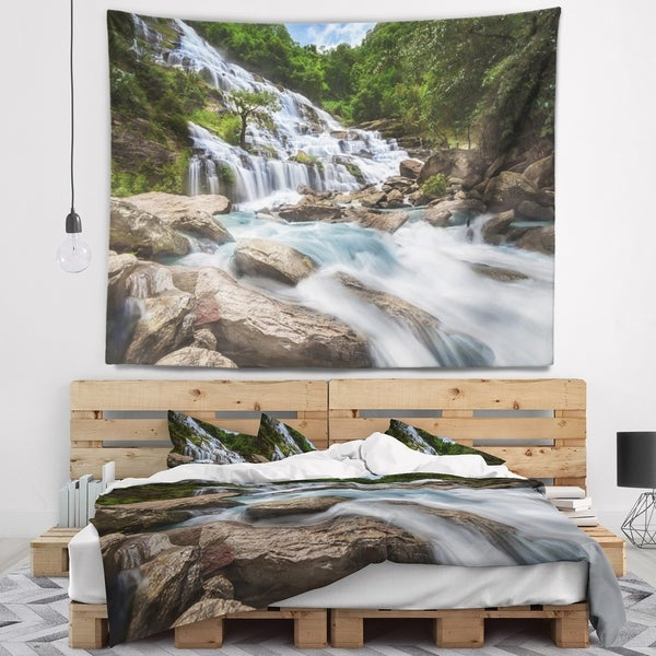 Designart 'White Mae Ya Waterfall Landscape' Photography Wall Tapestry