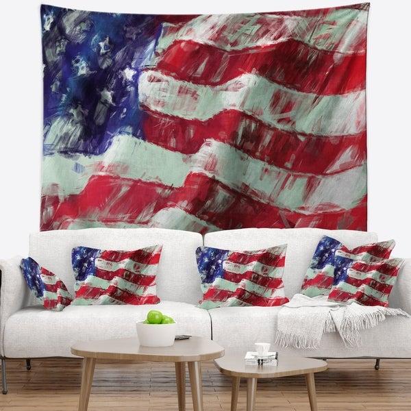 Designart 'USA Flag Abstract Art' Map & Flag Wall Tapestry