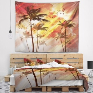 Designart 'Palm Tree at Sunset' Photography Wall Tapestry