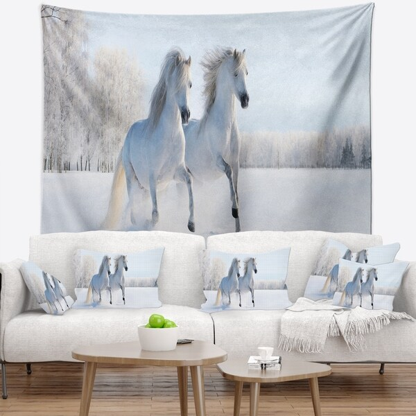 Designart 'Two Galloping White Ponies' Animal Photo Wall Tapestry