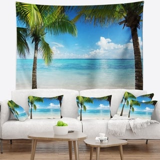 Designart 'Palm Trees and Sea' Landscape Photography Wall Tapestry