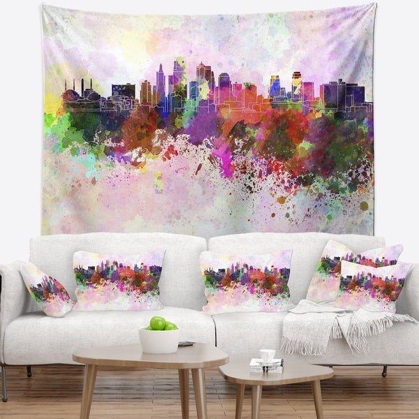 Designart 'Kansas City Skyline' Cityscape Wall Tapestry
