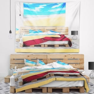 Designart 'Blue Sandy Tropical Sea Beach' Seascape Wall Tapestry