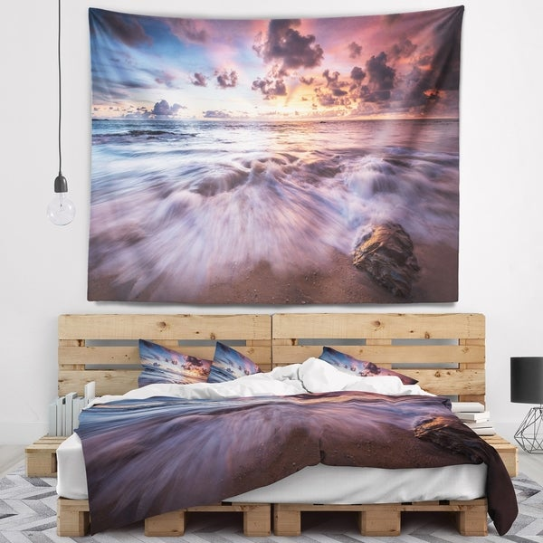 Designart 'Beautiful Sea Waves At Sunset' Beach Photo Wall Tapestry
