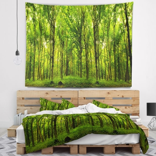 Designart 'Green Forest' Landscape Photo Wall Tapestry
