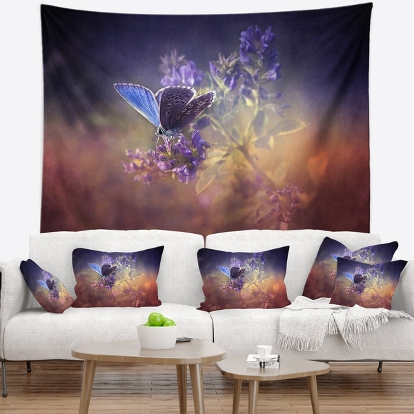Designart 'Vintage Butterfly' Floral Wall Tapestry
