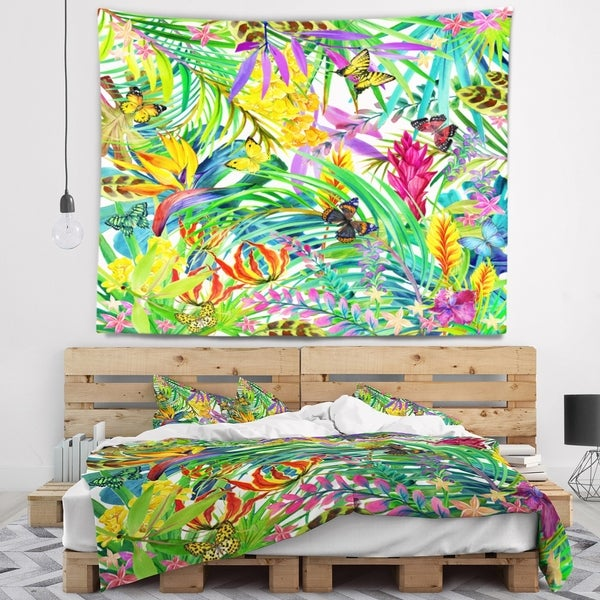 Designart 'Tropical Leaves and Flowers' Floral Wall Tapestry