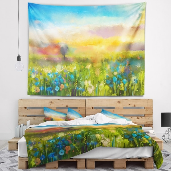 Designart 'Sunset Meadow Landscape' Contemporary Wall Tapestry