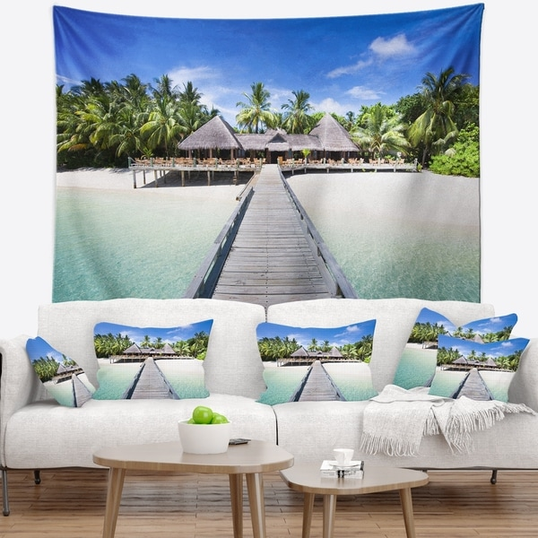 Designart 'Beach with Coconut Palm Trees' Landscape Photo Wall Tapestry