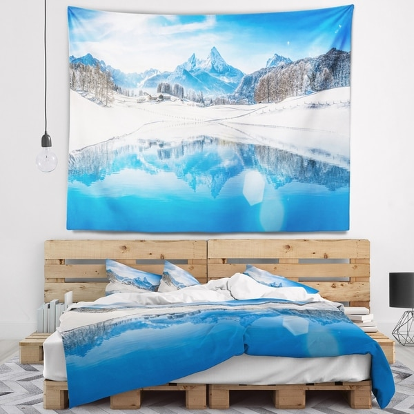 Designart 'Winter Mountain Lake in Alps' Landscape Photography Wall Tapestry