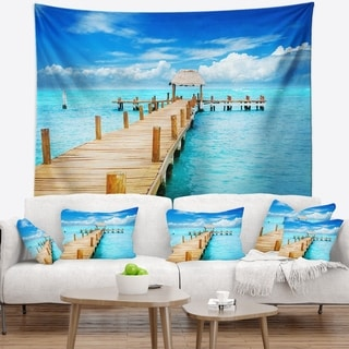 Designart 'Tropic Paradise Jetty in Mexico' Seascape Wall Tapestry
