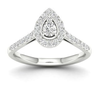 De Couer 10k Gold 1 3Ct TDW Diamond Halo Engagement Ring