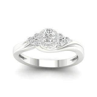 De Couer 10k Gold 1/4Ct TDW Diamond Halo Engagement Ring (More options available)