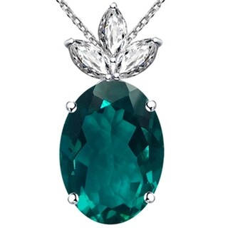 925 Sterling Silver Oval Shape Gemstone & Cubic Zirconia Pendant (3 options available)