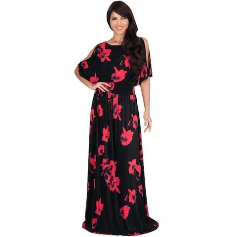 KOH KOH Womens Casual Sundresses Sexy Short Sleeve Maxi Dresses