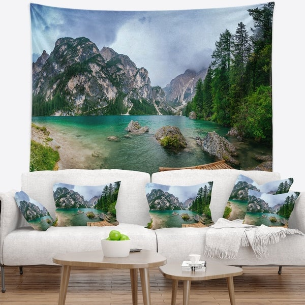 Designart 'Lake Between Mountains' Landscape Photography Wall Tapestry