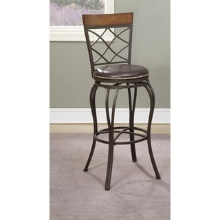 Curvaceous Metal & Solid Wood Swivel Barstool, Brown (Set of 2)