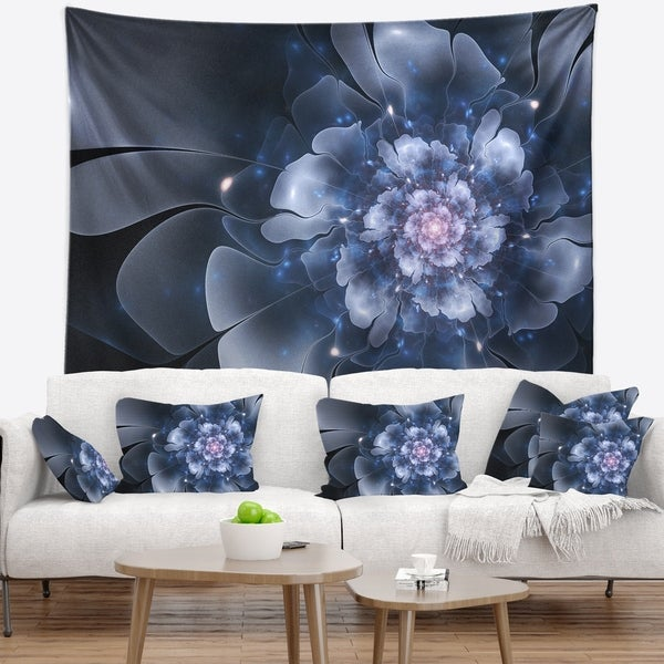Designart 'Fractal Flower Light Blue Petals' Floral Wall Tapestry