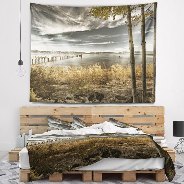Designart 'Pier in Brown Lake' Landscape Photo Wall Tapestry
