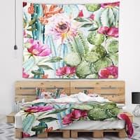 Designart 'Cactus Pattern Watercolor' Floral Wall Tapestry