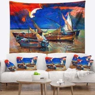 Designart 'Fishing Boats Under Blue Sky' Seascape Wall Tapestry