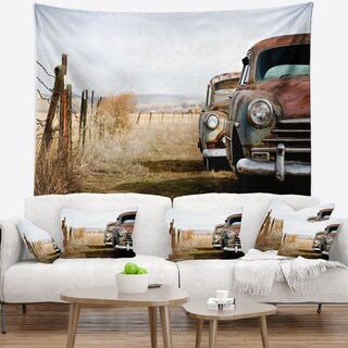 Designart 'Vintage Cars' Contemporary Wall Tapestry
