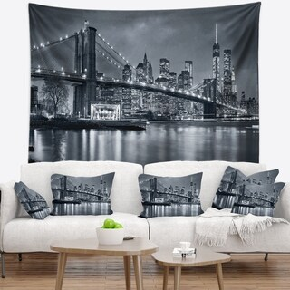 Designart 'Panorama New York City at Night' Cityscape Wall Tapestry