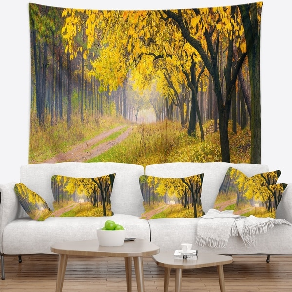 Designart 'Bright Yellow Autumn Forest' Landscape Photo Wall Tapestry