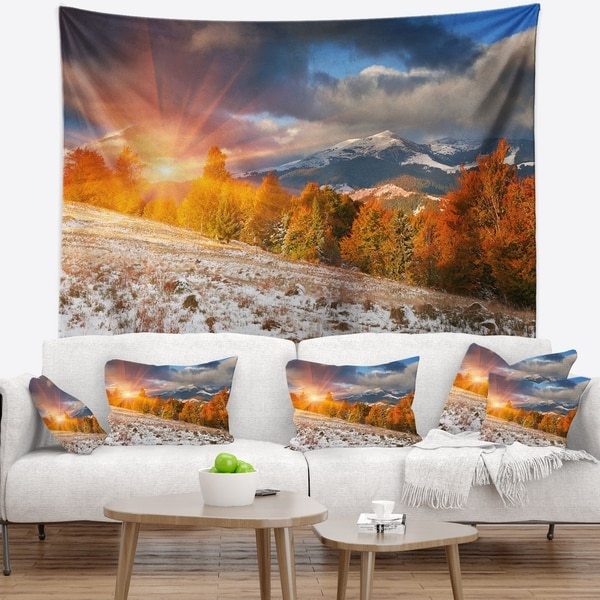 Designart 'First Snow in Carpathian Mountains' Landscape Photography Wall Tapestry