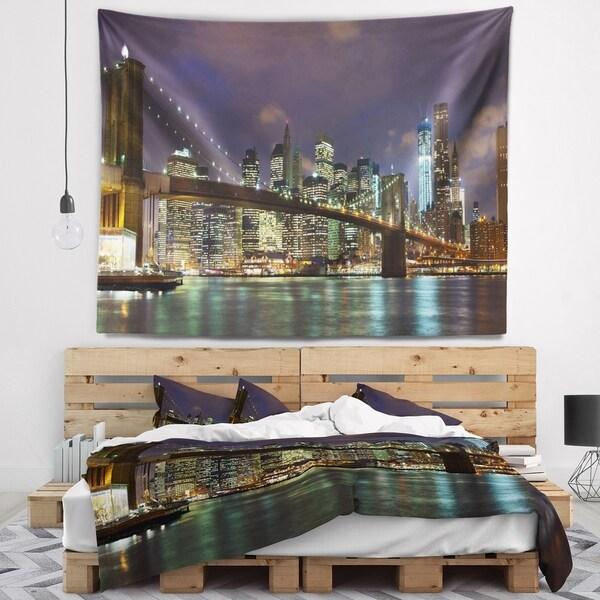 Designart 'Brooklyn Bridge Panoramic View' Cityscape Photo Wall Tapestry