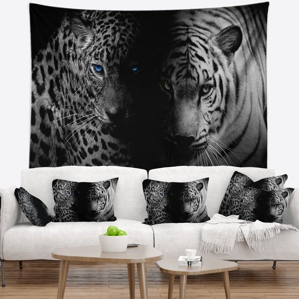 Designart 'Leopard and Tiger in Black' Animal Wall Tapestry