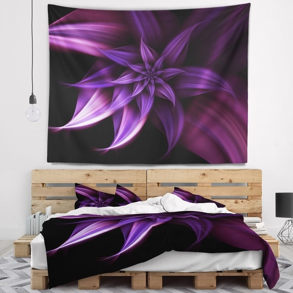 Designart 'Fractal Flower Purple' Floral Wall Tapestry