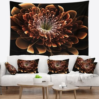 Designart 'Brown Fractal Flower' Modern Floral Wall Tapestry