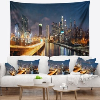 Designart 'Philadelphia Skyline at Night' Cityscape Wall Tapestry