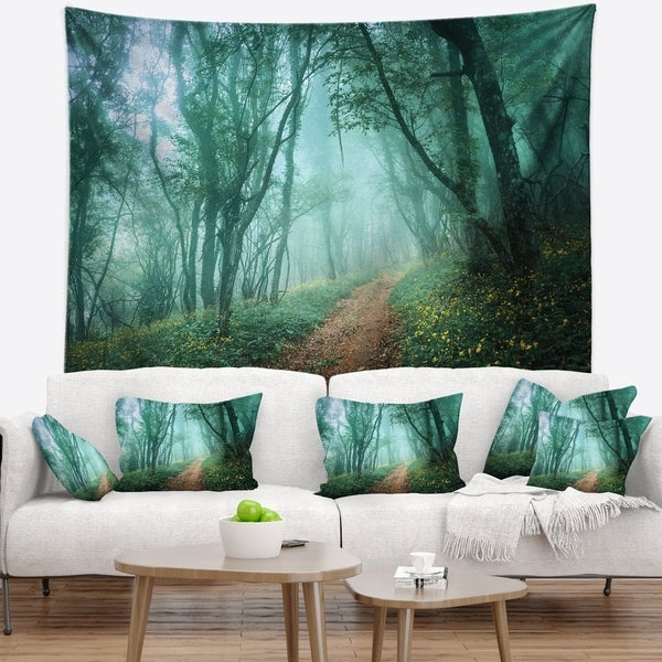 Designart 'Light Green Mystical Fall Forest' Landscape Photography Wall Tapestry