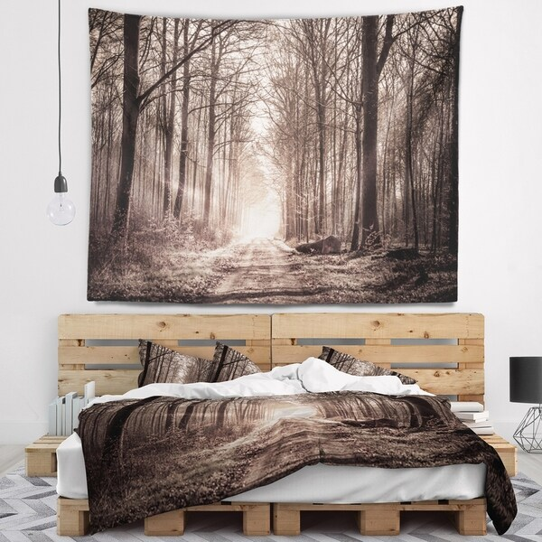 Designart 'Forest Trail in Sepia' Landscape Photography Wall Tapestry